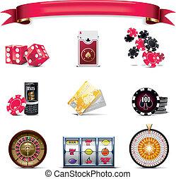 (w), set., wektor, hazard, p., ikona