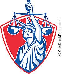 ważące skalpy, sprawiedliwość, swoboda, retro, statua, wychowywanie