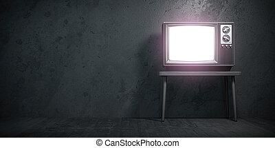 wall., czarnoskóry, komplet, stary, konkretny, grunge, telewizja