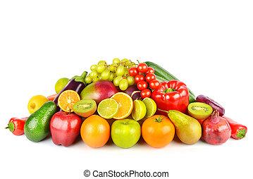 warzywa, biały, owoce, tło., odizolowany