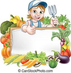 warzywa, kobieta, ogrodnik, znak