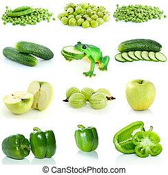 warzywa, komplet, zielony, owoc, jagody
