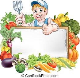 warzywa, ogrodnik, znak