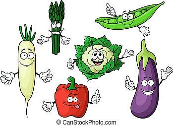 warzywa, organiczny, rysunek, litery, ogród