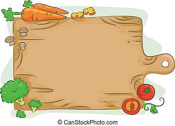 warzywa, rąbiąca deska, tło