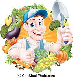 warzywa, rysunek, ogrodnik