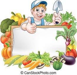 warzywa, rysunek, ogrodnik, znak