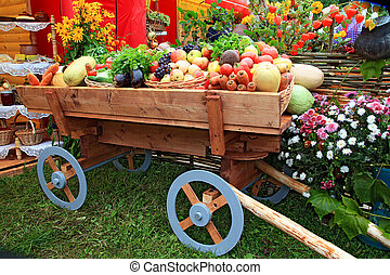 warzywa, wóz, jarmark