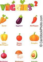 warzywa, wektor, komplet, ikona