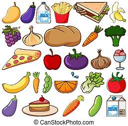 warzywa, wielki, białe tło, owoce, komplet