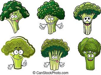 warzywa, zielony, brokuł, litery, rysunek