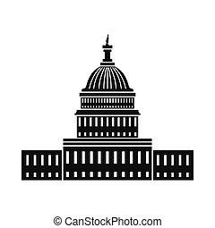 waszyngton dc, dom, biały, ikona