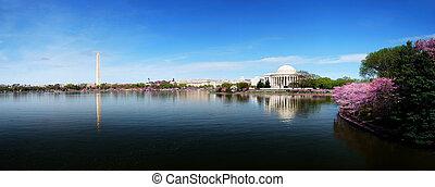 waszyngton, sylwetka na tle nieba, dc, panorama
