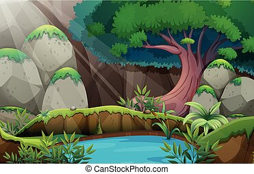 waterhole, las, scena