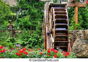 waterwheel, kwiat, hdr, ogród
