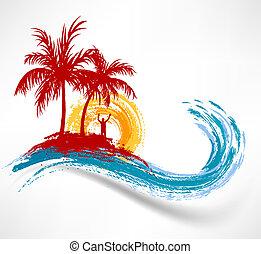 wave., przeciw, ocean, zachód słońca, drzewa, dłoń, człowiek