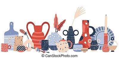 wazony, biały, lichtarze, kunszt, porcelana, studio., wektor, garncarstwo, odizolowany, tło, ręka, dekoracje, produkt, nowoczesny, illustration., porcelana, ceramiczny, handmade, pociągnięty, handcraft