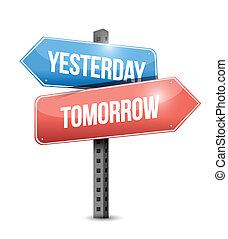 wczoraj, projektować, jutro, ilustracja, znak