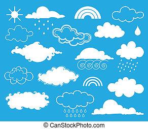 weather., wektor, komplet, elementy