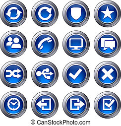 website, błękitny, komplet, ikony, -, 2