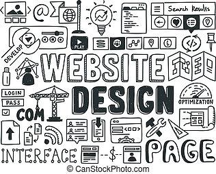 website, doodle, elementy, projektować