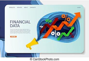 website, finansowy, lądowanie, wektor, projektować, szablon, dane, strona