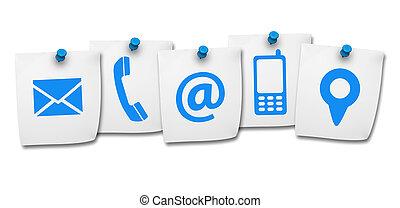 website, ikony, to, na, kontakt, poczta