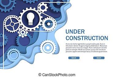 website, kartka sieći, wektor, szablon, pod zbudowanie, chorągiew