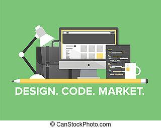website, kierownictwo, programowanie, ilustracja, płaski