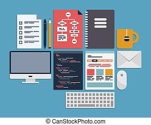 website, kierownictwo, programowanie