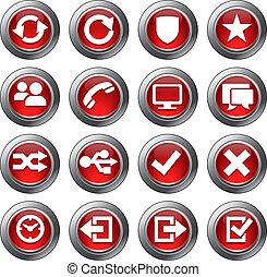 website, komplet, ikony, -, 2, czerwony