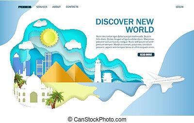 website, odkrywać, lądowanie, wektor, projektować, szablon, nowy świat, strona