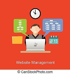 website, płaski, kierownictwo, concept., ilustracja, design.