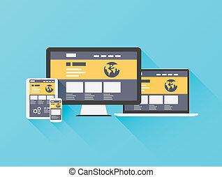 website, płaski, nowoczesny, ilustracja