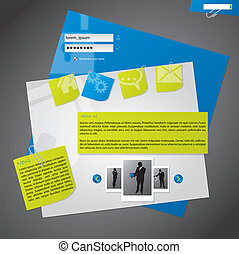 website, projektować, szablon, notepapers