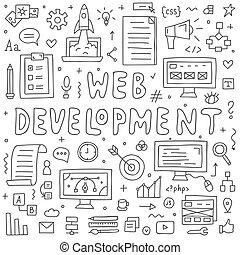 website, rozwój, doodles