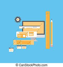 website, rozwój, ilustracja, płaski