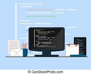 website, rozwój, płaski, pojęcie, programowanie, kodowanie, ilustracja, sieć, design.