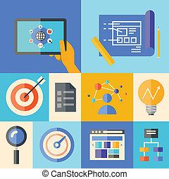 website, rozwój, pojęcie, ilustracja