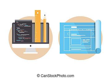 website, rozwój, programowanie, ikony