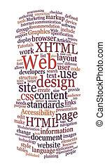 website, sieć, słowo, projektować, chmura
