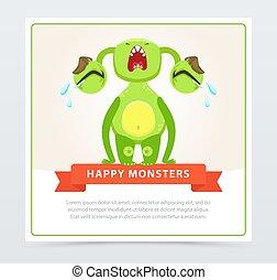 website, sprytny, płacz, potwór, zabawny, ruchomy, app, rysunek, potwory, wektor, zielony, loudly, element, chorągiew, albo, szczęśliwy