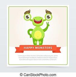 website, sprytny, potwór, potwory, zabawny, znak, pokaz, rysunek, ruchomy, wektor, zielony, zwycięstwo, app, element, chorągiew, albo, szczęśliwy