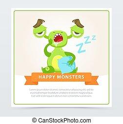 website, sprytny, potwór, zabawny, ruchomy, app, ziewanie, rysunek, potwory, wektor, zielony, element, chorągiew, albo, szczęśliwy