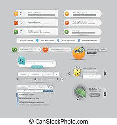 website, szablon, eleme, projektować, menu