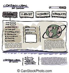 website, szablon, wektor, editable