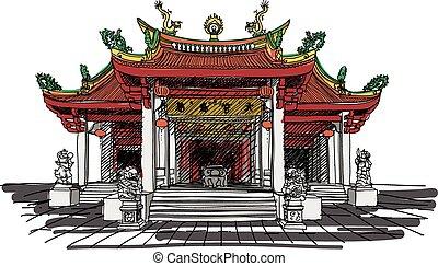 wektor, świątynia, chińczyk