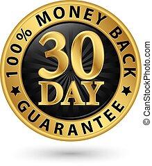 wektor, 100%, 30, wstecz, pieniądze, złoty, dzień, ilustracja, gwarantować, znak
