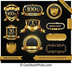 wektor, 100%, guaranteed, etykieta, uiszczenie, ochrona, znak
