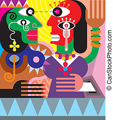 wektor, abstrakcyjny, kobieta, człowiek